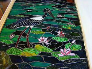 Australian JABIRU WATER LILY DESIGN Stained Glass Window Or
