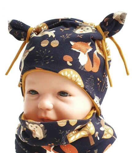 Set Mütze und Loop Knotenmütze Baby Kind Junge Mädchen Handmade