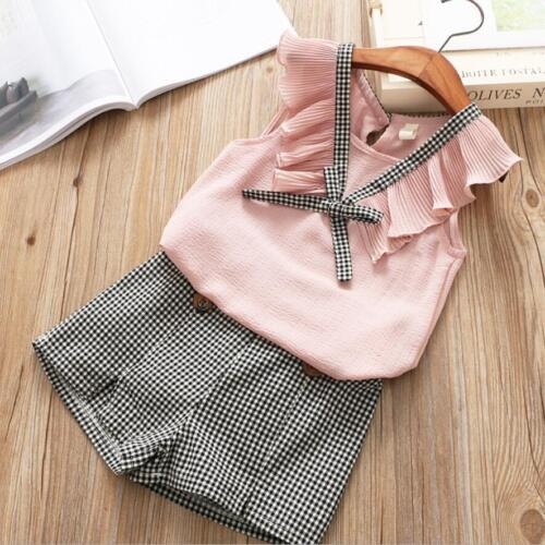 2pcs Toddler Girls Summer Outfits Sleeveless Chiffon Blouse+Shorts Clothes Sets