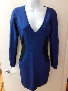 French Connection Royal Blue Long Sleeve Bodycon V Neck Mini Dress Size 14 Uk Ebay