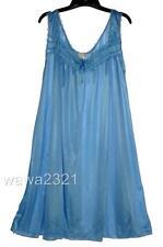 M.Blue RUFFLE SATIN LACE SLEEVELESS WOMENS NIGHTGOWN SLEEPWEAR #9017- Sz L