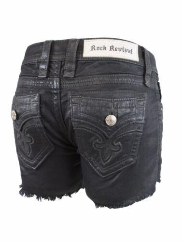 Rock Revival Women Alayna H3 Cute Black Coat Denim Jean Shorts Big Stitch