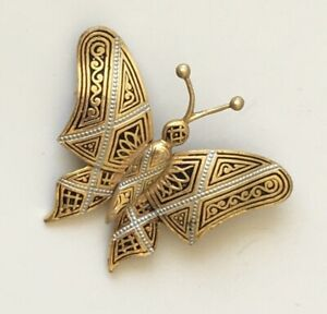 Vintage-Damascene-butterfly-lpin-brooch-enamel-on-metal-with-faux-pearl