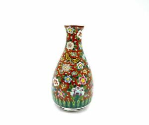 Asian Enamel Hand Painted Butterfly Bud Vase