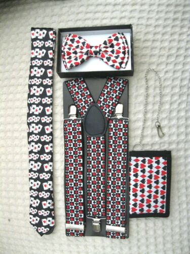 Poker Player Cards Bow Tie,Poker Adjustable Suspenders and Poker Neck Tie Combo