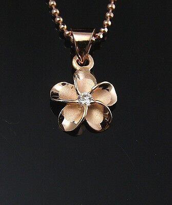 PINK ROSE SILVER 925 HAWAIIAN PLUMERIA FLOWER PENDANT CZ 10MM