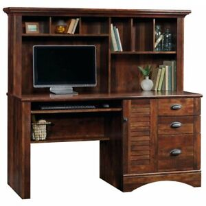 Details About Sauder Harbor View Computer Desk With Hutch In Curado Cherry