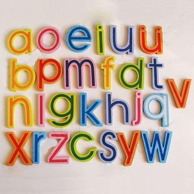 Bellissimo 27x In Legno Magnetico Alfabeto A-z Lettere Minuscole Frigo Magneti Bambino Giocattolo H Ic-mostra Il Titolo Originale