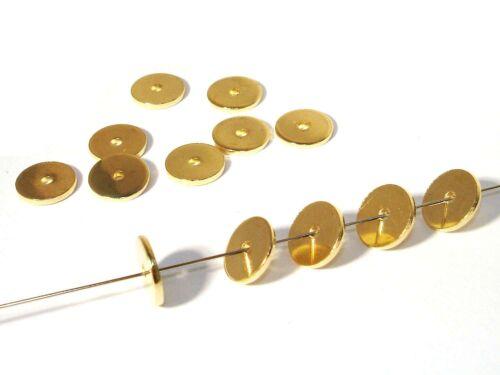 Schmuck Scheiben 25 Stück #UU78 8mm Metallperlen Gold