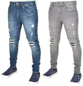 Enzo-Mens-Ripped-Jeans-Skinny-Slim-Fit-Denim-Pants-Casual-Trousers-Size-28-40