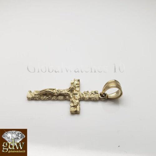 Real 10k Gold Nugget Cross Pendant /& 20-26 Inch 2mm 10k Rope Chain  Men Women