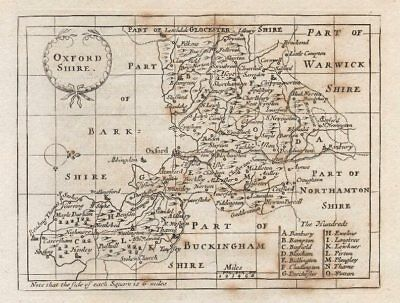 Uncoloured C1780 Making Things Convenient For The People Francis Grose Latest Collection Of Antique County Map Of Oxfordshire John Seller