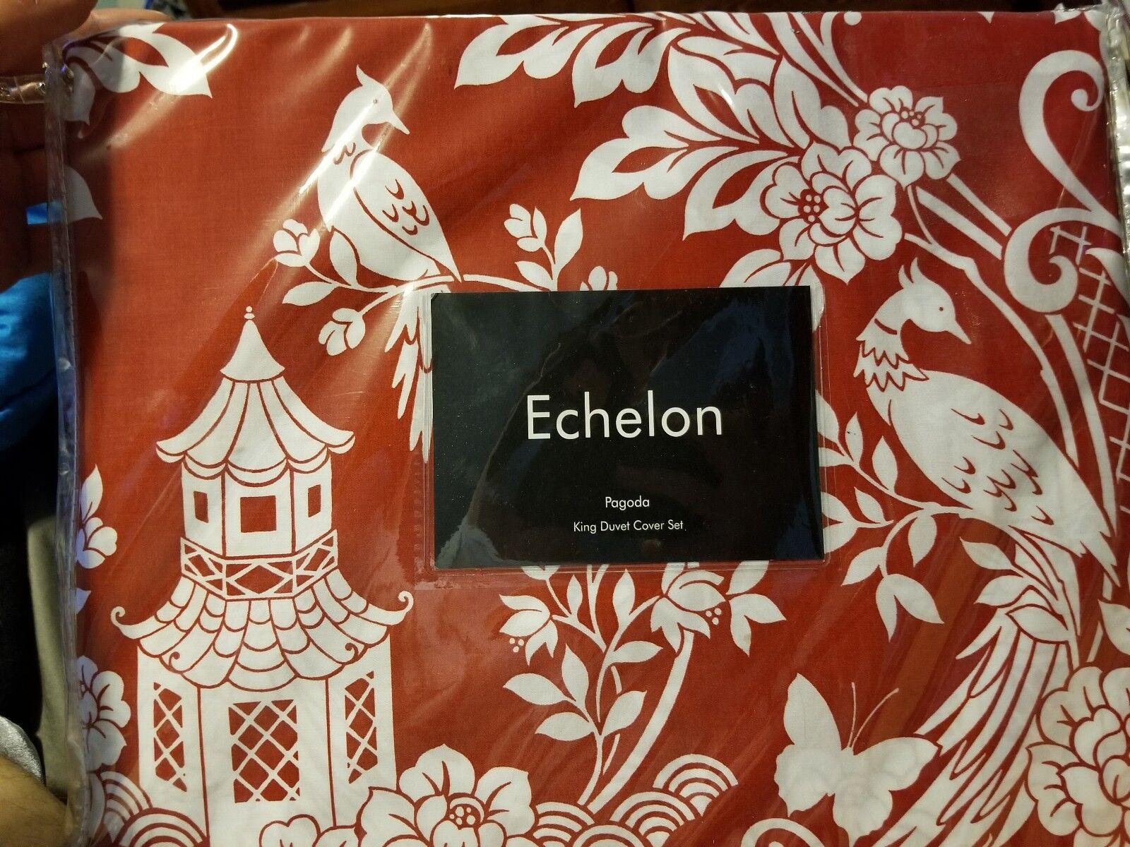 Echelon Pagoda King Duvet Cover Set, Cinnabar