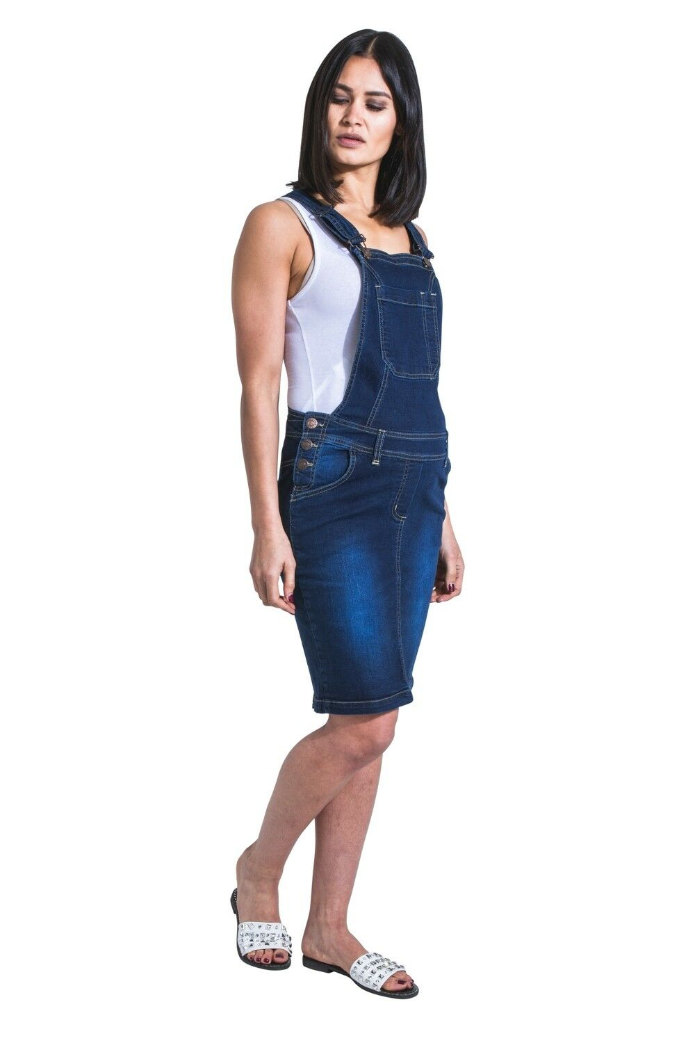 USKEES ROSIE Short Maternity Pinafore Darkwash Denim Pregnancy Dress Adjustable