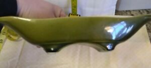 Vintage USA Pottery Green Drip Glaze Console Bowl Planter