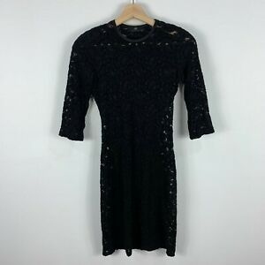Cue-Dress-Womens-6-Black-Long-3-4-Sleeve-Lace-Round-Neck