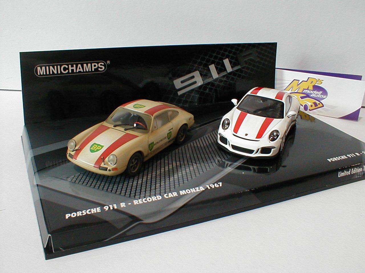 Minichamps 412066220 - 2er Set Porsche 911 R 2016 + 1967 Record Car 1 43 499 pcs