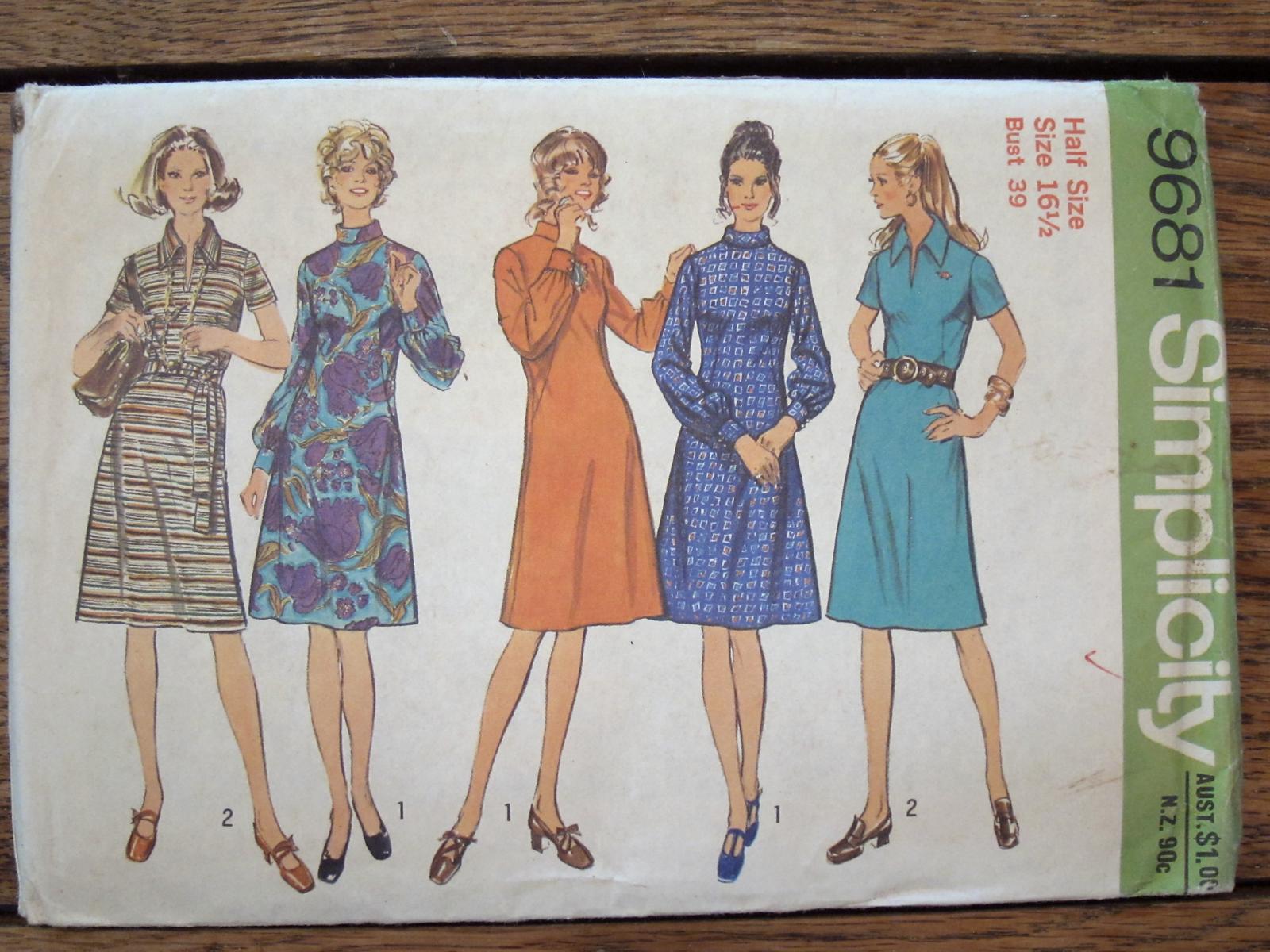 Size 16 UNCUT Fabulous  Misses/' One Piece Dress RARE Vintage  Simplicity Designer/'s Pattern 8169 Bust 34