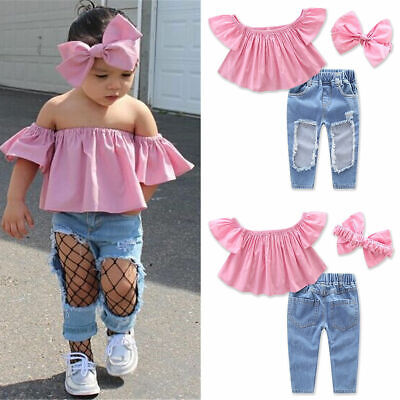 3PCS Toddler Kids Baby Girls T-shirt Tops+Ripped Pants Jeans Outfits Clothes Set