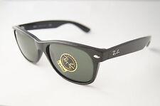 RAY BAN New Wayfarer Sonnenbrille RB2132 901L Shiny Black / Green, Damen Herren