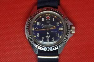 Vintage-sowjetischen-Zakaz-MO-USSR-VOSTOK-KOMANDIRSKIE-Blue-Submarine-watch-2414a
