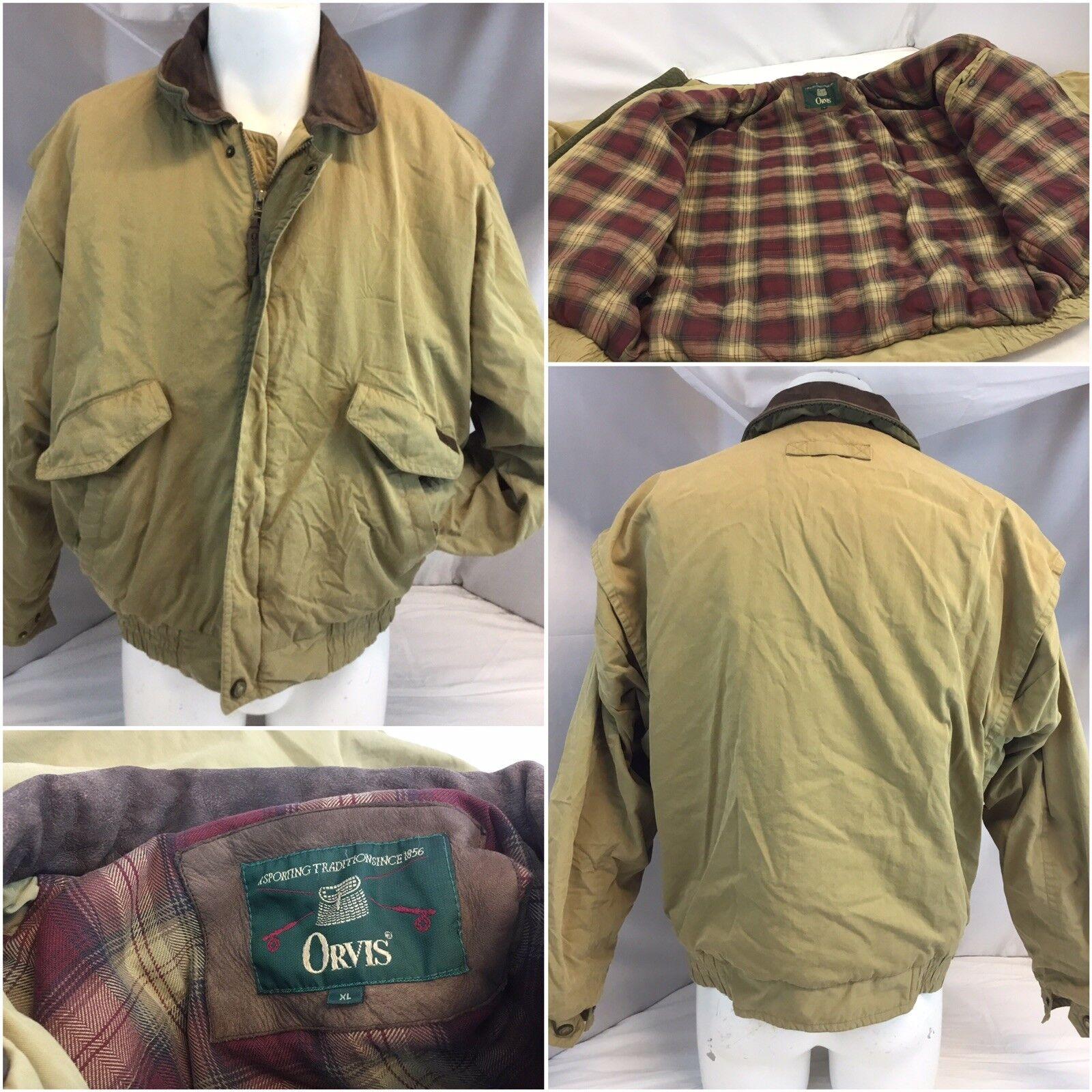 Orvis Barn Coat L Tan Cotton Nylon Full Zip Plaid Lined EUC YGI L8-440