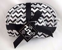 Cosmetic Bags Set Three Sizes Black White Zigzag Bag Chevron Design Travel