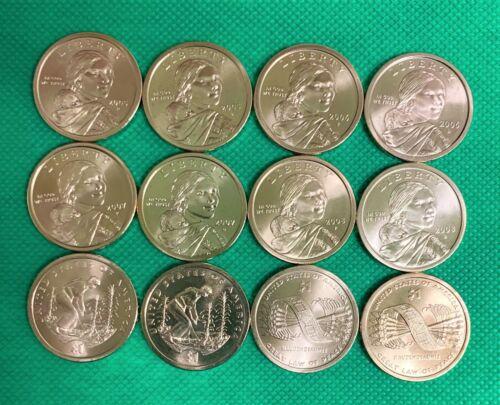 2005 thru 2010 P /& D BU Satin Finish Sacagawea Dollars 12 coins