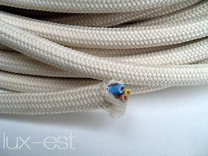 1m cable textil &#034;crema&#034; 3 x 0,75 QMM cable stoffummantelt industria lámpara Vintage  </span>