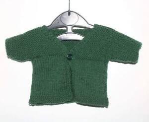 Tricoté à La Main 0-3 Mois Baby Cardigan Vert Bouteille-afficher Le Titre D'origine