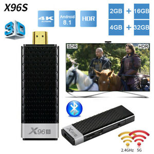 X96S 4K HDR TV Stick 4G+32G Android TV Box Dongle Quad Core Dual Wifi BT Player