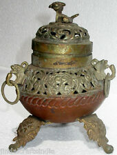 VINTAGE AROMA HOLDER INDIAN COPPER BRASS ROYAL RARE ANTIQUE HANDMADE UNIQUE ART
