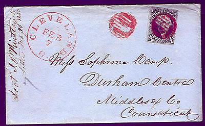 1850, 10¢ Schwarz (#2) Tied Red Gitter Abbrechen Mit Cleveland O.seiten Stempel,