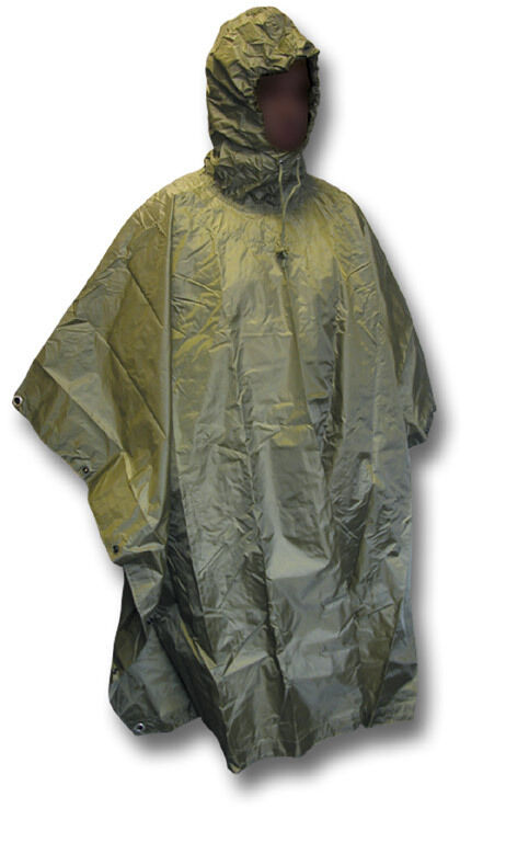 HIGHLANDER RIPSTOP HOODED PONCHO   CAPE, GREEN [37157]