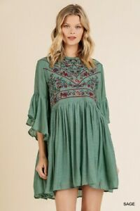 Umgee-Bohemian-Floral-Embroidered-Ruffled-Sleeve-Dress-Size-Small
