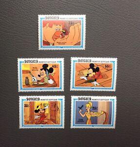 Lot-de-timbres-Mickey-et-ses-amis-Walt-Disney-production-1984-Serie-Mongolia