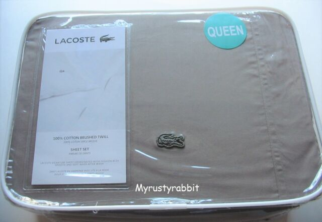 LACOSTE Queen Sheet Set of 4-100/% Brushed Twill Cotton Paloma Gray New