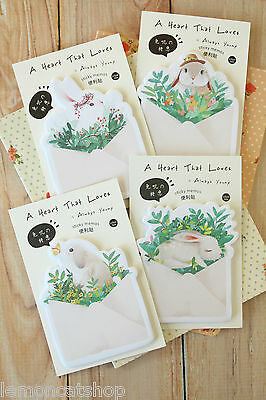 Envelope Heart Rabbit Sticky Notes cute bunny kawaii cartoon planner note memo