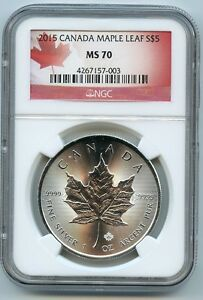 2015 Canadian Maple Leaf 5 Silver Dollar Ms70 Ngc 9999