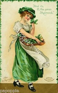 St-Patricks-Day-Fabric-Block-Vintage-Postcard-on-Fabric-Irish-Girl-Shamrock