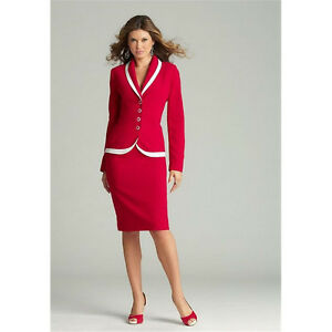 7706d12f2 Image is loading Red-Womens-Business-Suits-Ladies-Winter-Formal-Skirt-