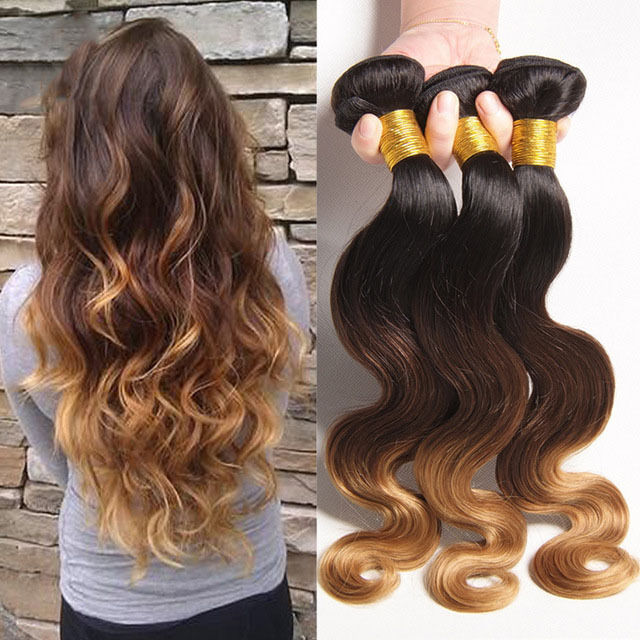 8A Brazilian Virgin Human Hair Weave 3 tones Body Wave 3Bundles/ 150g 1b/4#/27#