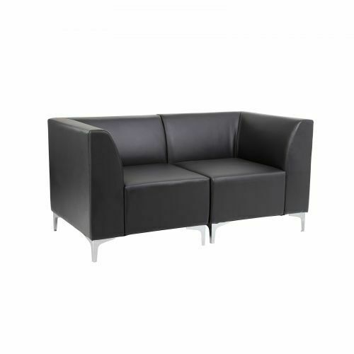 Reception Seating Corner Unit /& Straight Unit with Back in Black Faux Leather