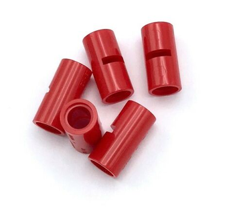 Lego 5 New Red Technic Pieces Pin Connectors Round 2L with Slots