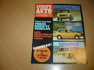 Europe-Auto-N-45-Autobianchi-A112-Chrysler-180-504-Injection
