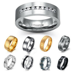 image is loading titanium stainless steel wedding band black silver gold - Stainless Steel Wedding Ring