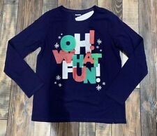 Holiday Time Boys OH What Fun Christmas Graphic Long Sleeve Shirt 6 7 8 NEW
