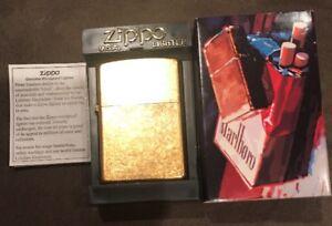 2002-Zippo-Gold-Marlboro-Lighter-With-Original-Box-New-Seal-Is-Not-Broken