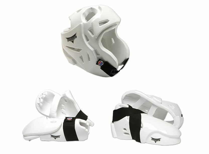 White ProForce  Sparring Gear Pads Set Helmet Hand Foot Guards Taekwondo Foam  fast shipping worldwide