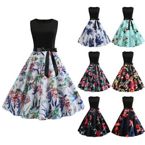 Womens-Retro-Floral-50s-Style-Vintage-Floral-Print-Rockabilly-Party-Swing-Dress